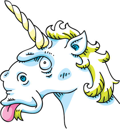 mythological character: A silly cartoon unicorn sticking out its tongue. Illustration