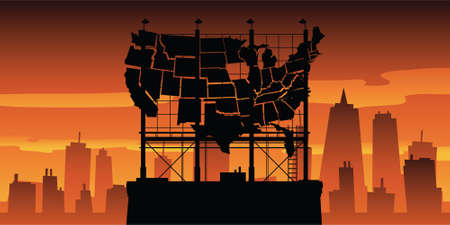rooftop: A worn out silhouette billboard in the shape of the United States in an urban setting.