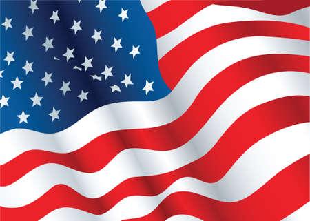 Illustratie van een wapperende vlag van de Verenigde Staten van Amerika.