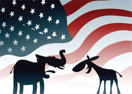 Cartoon elephant and donkey, symbols of the dominant US political parties. Vector