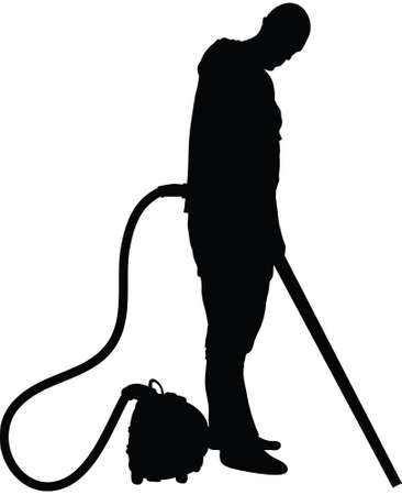 A silhouette of a man cleaning with a vacuum cleaner. Ilustrace