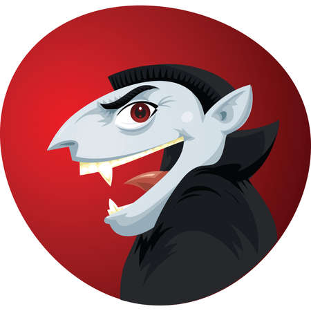 cartoon vampire: A spooky,cartoon vampire with a smile.