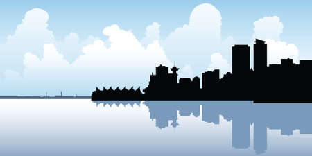 vancouver: Skyline silhouette of the city of Vancouver, British Columbia, Canada. Illustration