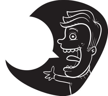 talking: A happy cartoon boy talking with a blank speech bubble.