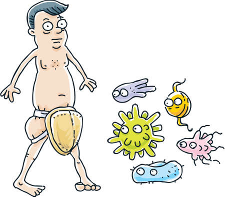nude man: A cartoon man protected against sexually-transmitted diseases. Illustration