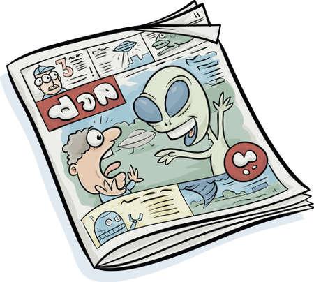 Een cartoon tabloid krant met sensationele verhalen op de cover. Stock Illustratie