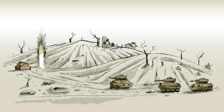Cartoon tanks battle on a desolate landscape.