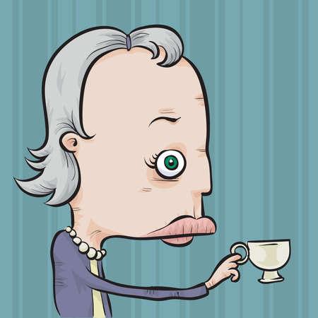 お茶の小さなカップを保持している古い漫画女性。