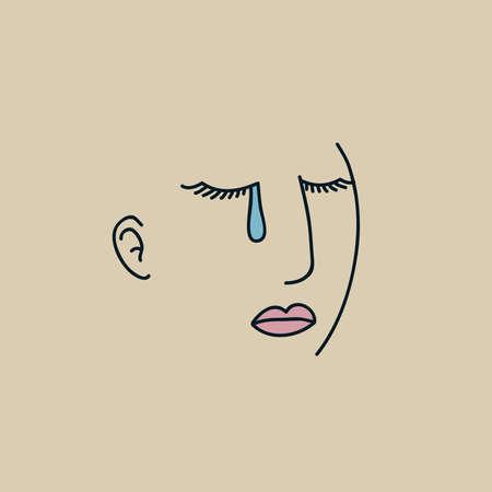 Simple line art of a woman shedding a single tear. Vettoriali