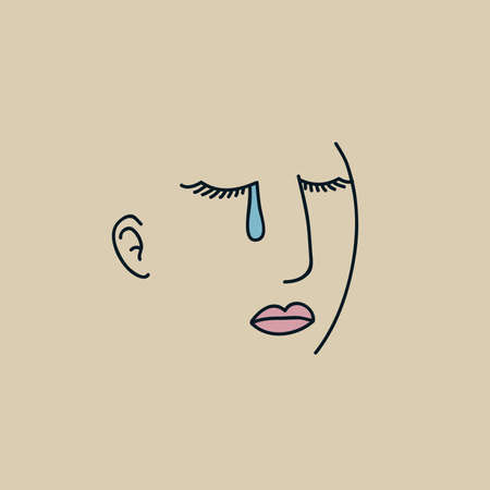 shedding: Simple line art of a woman shedding a single tear. Illustration