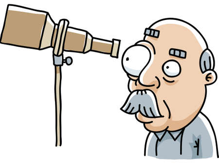 A cartoon man looking through his telescope. Vettoriali