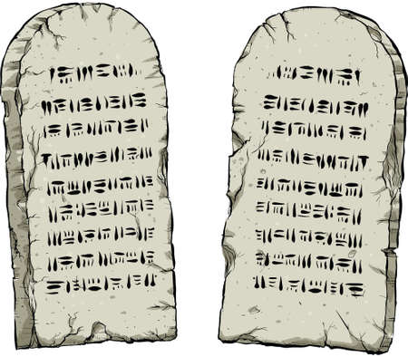 고대의 지혜를 포함하는 두 만화 돌 정제.