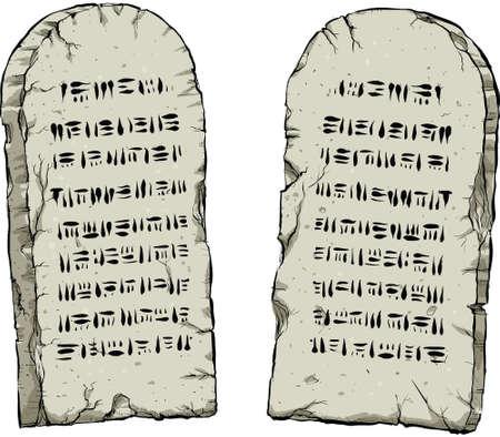 Dos tablas de piedra que contenían dibujos animados antigua sabiduría. Ilustración de vector