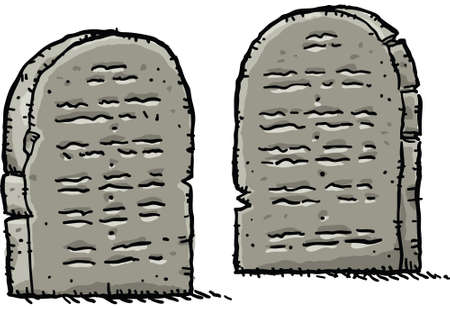 Two cartoon stone tablets containing ancient wisdom.