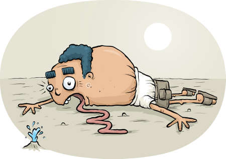 lying in: A cartoon man lying on the ground in a desert spots a bit of relief.