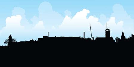 ontario: Silhouette skyline del villaggio di Tilbury, Ontario, Canada.