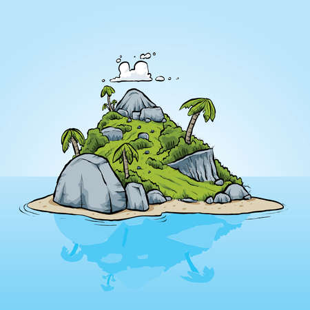 A tiny, tropical island on calm, still waters. Vector