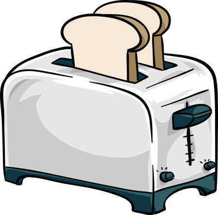 A cartoon, chrome toaster with two pieces of bread in it. Illustration