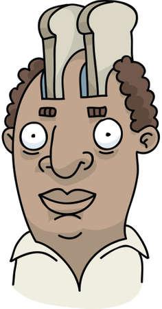 A cartoon man whose head is a toaster. Vector