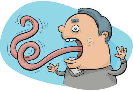 A cartoon man unable to control his long tongue.  Illustration