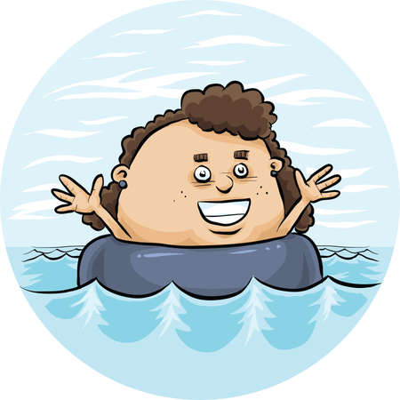 A cartoon girl floating in an inflatable inner tube for fun.