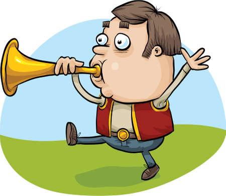 A cartoon man blowing a brass horn.
