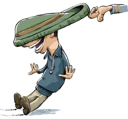 prank: A hand pulls on a cartoon mans toque for a joke. Illustration