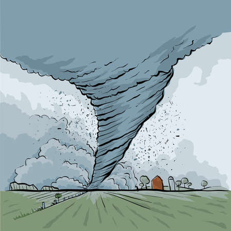 A cartoon tornado tears across a rural farm field. Vector