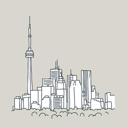 toronto: Cartoon of the downtown of the city of Toronto, Ontario, Canada. Illustration