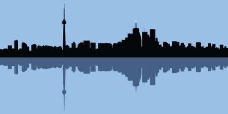business district: Skyline silhouette of Toronto, Ontario, Canada. Illustration