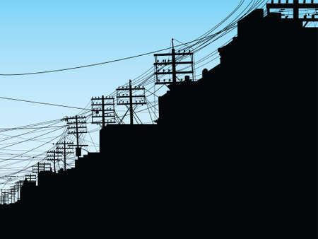 toronto: Silhouette of poles and wires on College Street in Toronto, Ontario, Canada