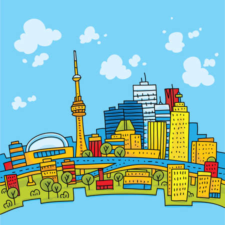 Bright, cartoon skyline of downtown Toronto, Ontario, Canada.