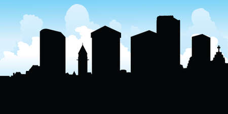 toronto: Skyline silhouette of Toronto, Ontario, Canada. Illustration