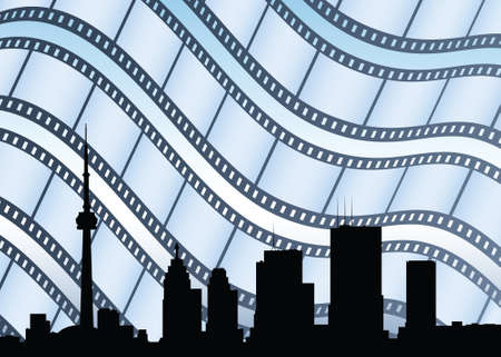 film industry: Skyline silhouette of downtown Toronto, Ontario, Canada with film industry backdrop.