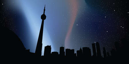toronto: Skyline silhouette of downtown Toronto, Ontario, Canada under stars and lights at night. Illustration