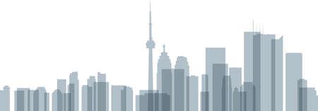 Skyline silhouette of downtown Toronto, Ontario, Canada with overlapping, transparent buildings.