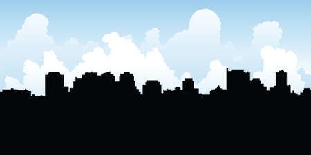 uptown: Skyline silhouette of the North York Centre area of Toronto.