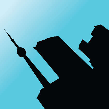 Skyline silhouette of downtown Toronto, Ontario, Canada. Vector