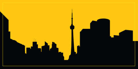 business district: Skyline silhouette of downtown Toronto, Ontario, Canada. Illustration
