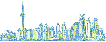 business district: Cartoon of the downtown of the city of Toronto, Ontario, Canada. Illustration