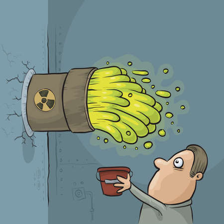 gush: A cartoon man discovers that his bucket is too small to handle a toxic waste leak.