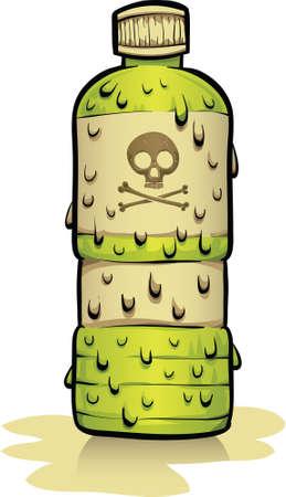 residuos toxicos: Una clara, botella de dibujos animados de los residuos t�xicos radioactivos. Vectores