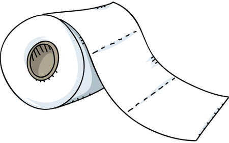 paper roll: A cartoon roll of toilet paper. Illustration
