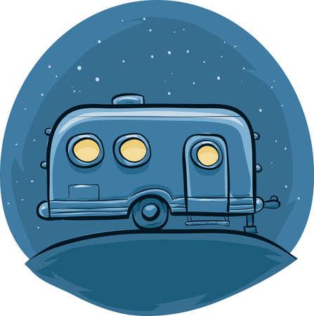night: A retro, cartoon steel trailer at night.