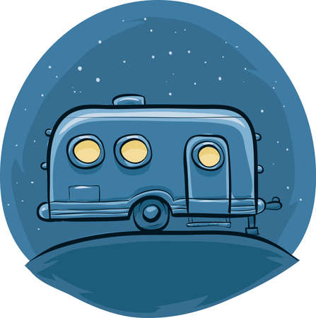 A retro, cartoon steel trailer at night.