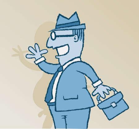 A businessman's shadow reveals his true nature.