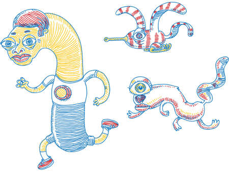 Three gonzo cartoon characters running and flying together. Ilustração