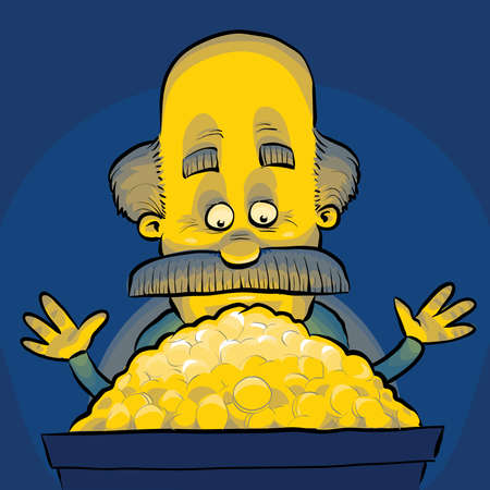 gold treasure: A cartoon man discovers a pile of glowing gold treasure.