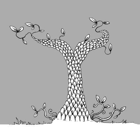 A stunted, scaled cartoon tree with few leaves. Ilustração