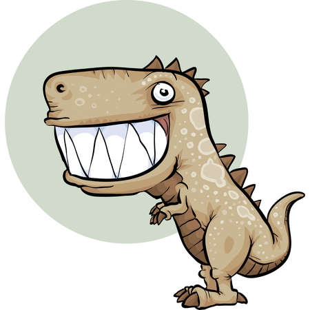 A happy, cartoon dinosaur with a big smile. Illustration